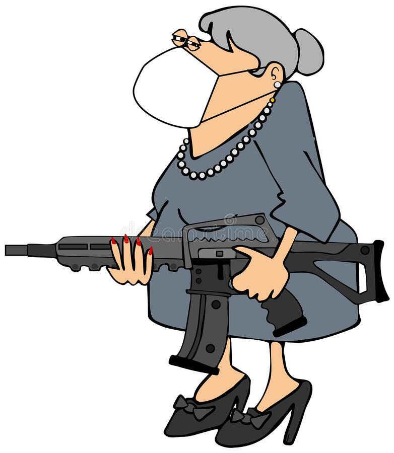 Bewaffnete Oma mit Gesichtsmaske stock abbildung