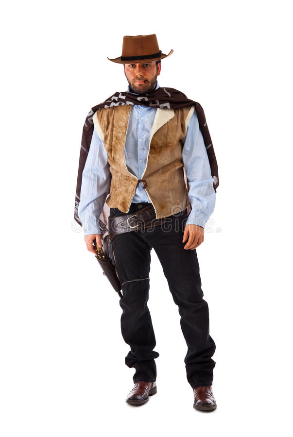 Bewaffneter Bandit im alten wilden Westen lizenzfreie stockbilder