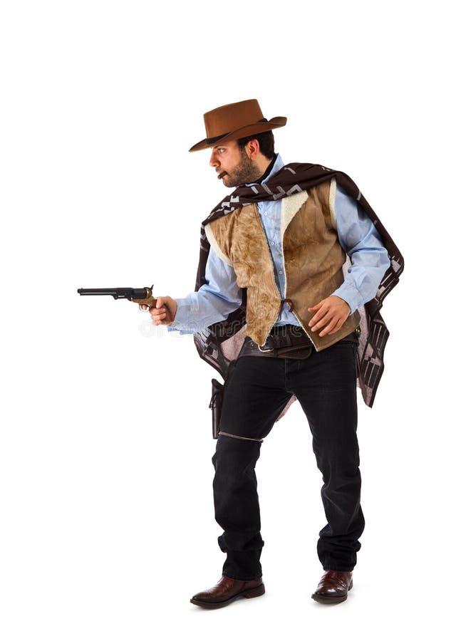 Bewaffneter Bandit im alten wilden Westen auf weißem Hintergrund stockfoto