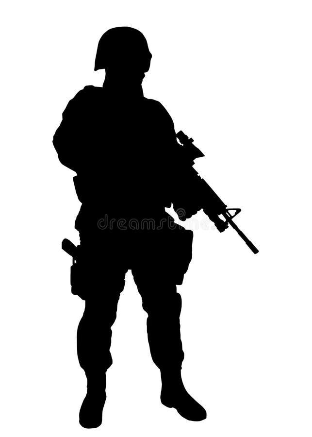 Bewaffneter Vektorschwarzschattenbild der FLIEGENKLATSCHE Kämpfer lokalisiertes vektor abbildung