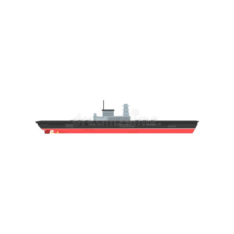Bewaffnetes Militärboot mit Radar und Los Kanonen Karikaturikone des Kriegsschiffes Großes Schiff mit Waffen Hallo-Geschwindigkei stock abbildung