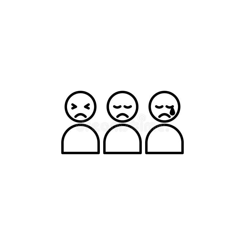 bewail, πιέστε, λυπημένο εικονίδιο Στοιχείο του κοινωνικών προβλήματος και του εικονιδίου προσφύγων Λεπτό εικονίδιο γραμμών για τ διανυσματική απεικόνιση