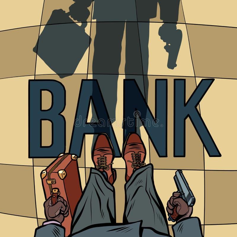 Bewapende Bankdiefstal royalty-vrije illustratie