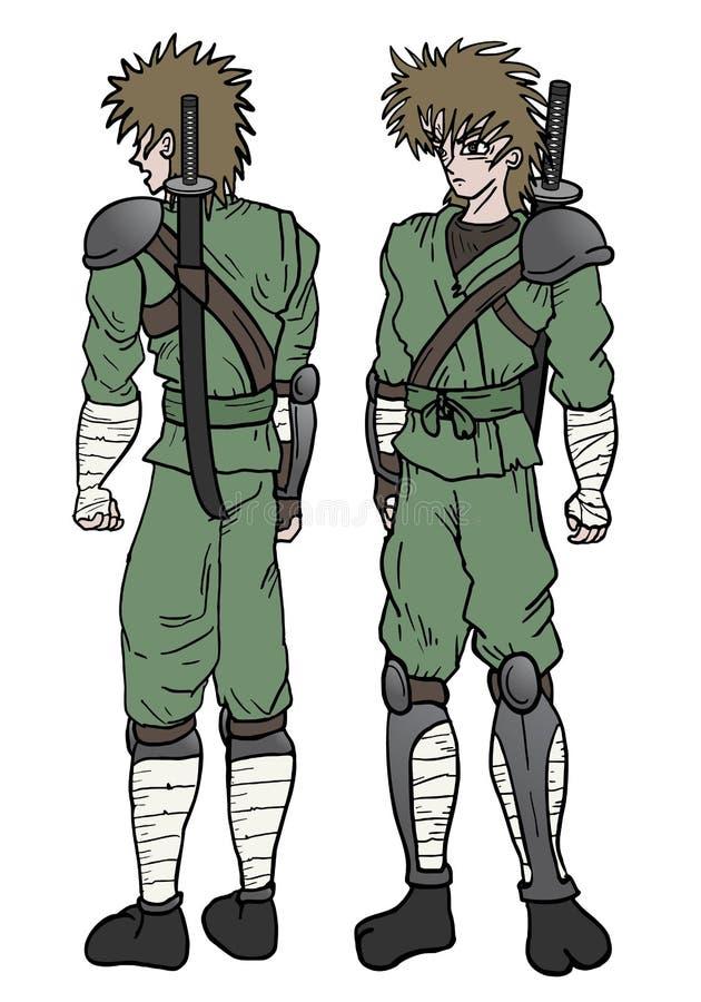 Bewapende ninja vector illustratie