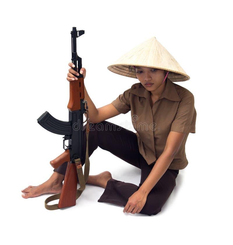 Bewapende vrouw stock fotografie