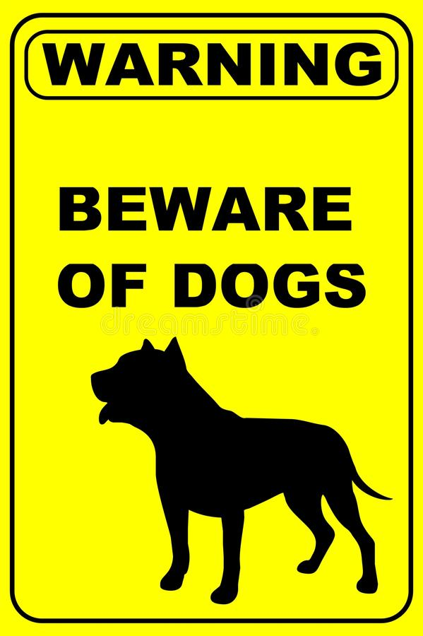 Beware του προειδοποιητικού σημαδιού σκυλιών στοκ φωτογραφία με δικαίωμα ελεύθερης χρήσης