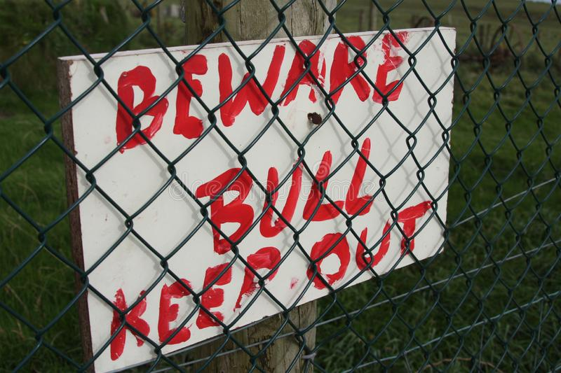 Beware of the bull, Keep out stock photo