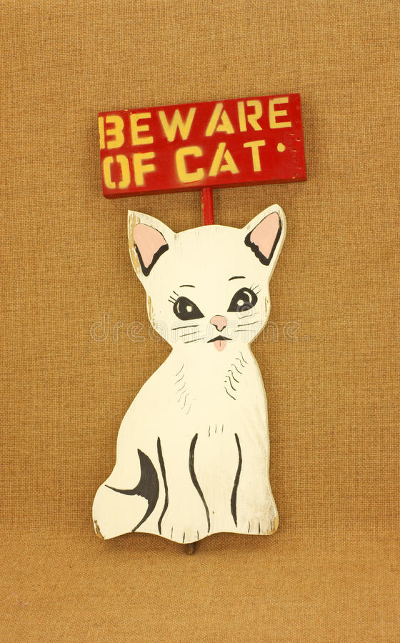 Download Beware of Cat stock image. Image of below, message, bold - 11374621