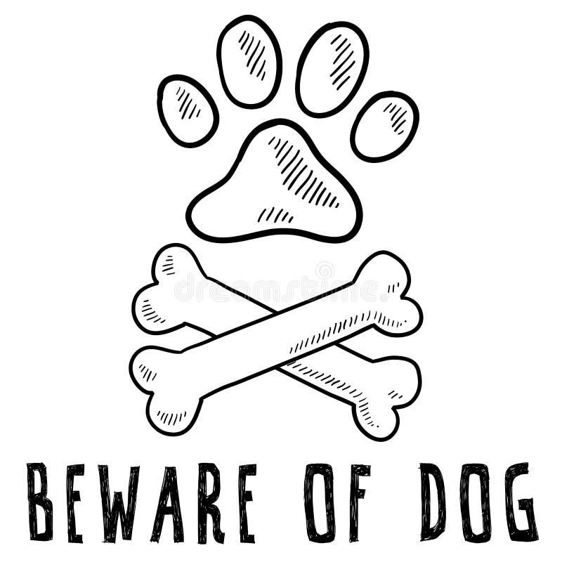 Beware do esboço do cão ilustração royalty free