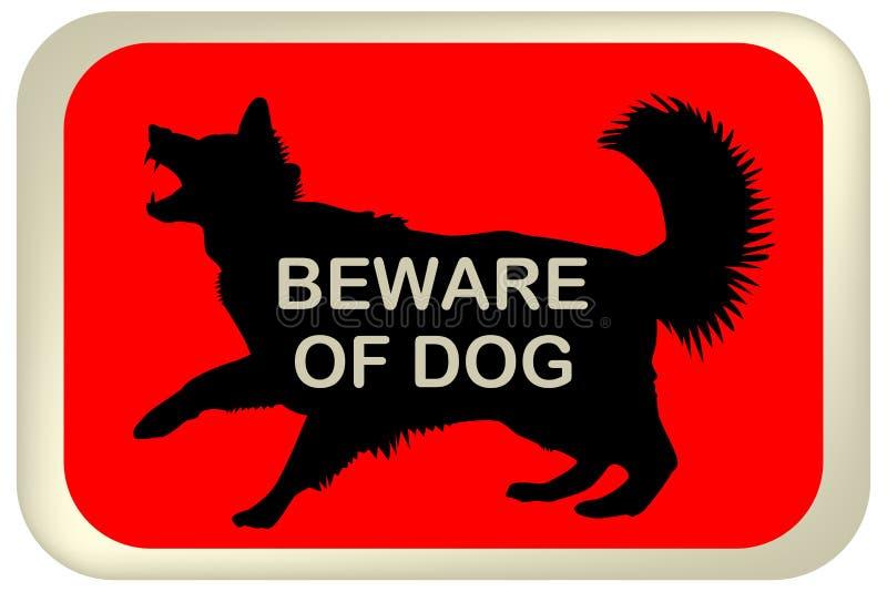 Beware do sinal do cão ilustração do vetor