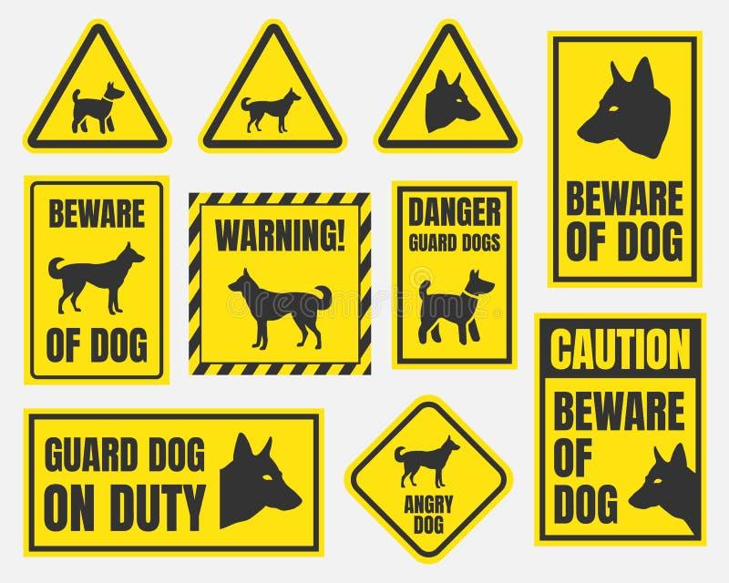 Beware do sinal do cão ilustração stock