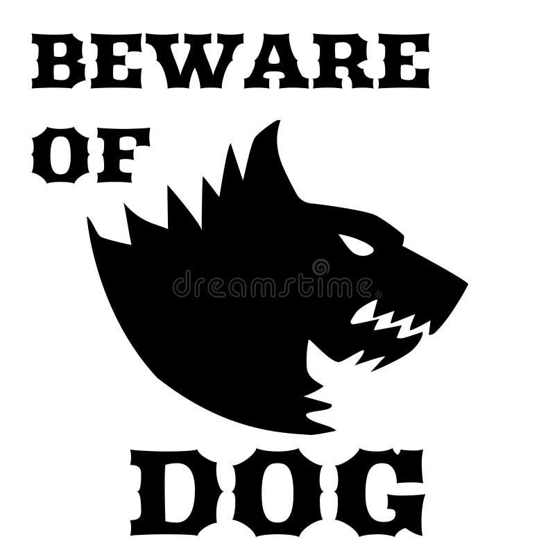 Beware do sinal do cão Cão irritado Silhueta de um cão rosnando Ilustração lisa do vetor Direwolf ilustração royalty free