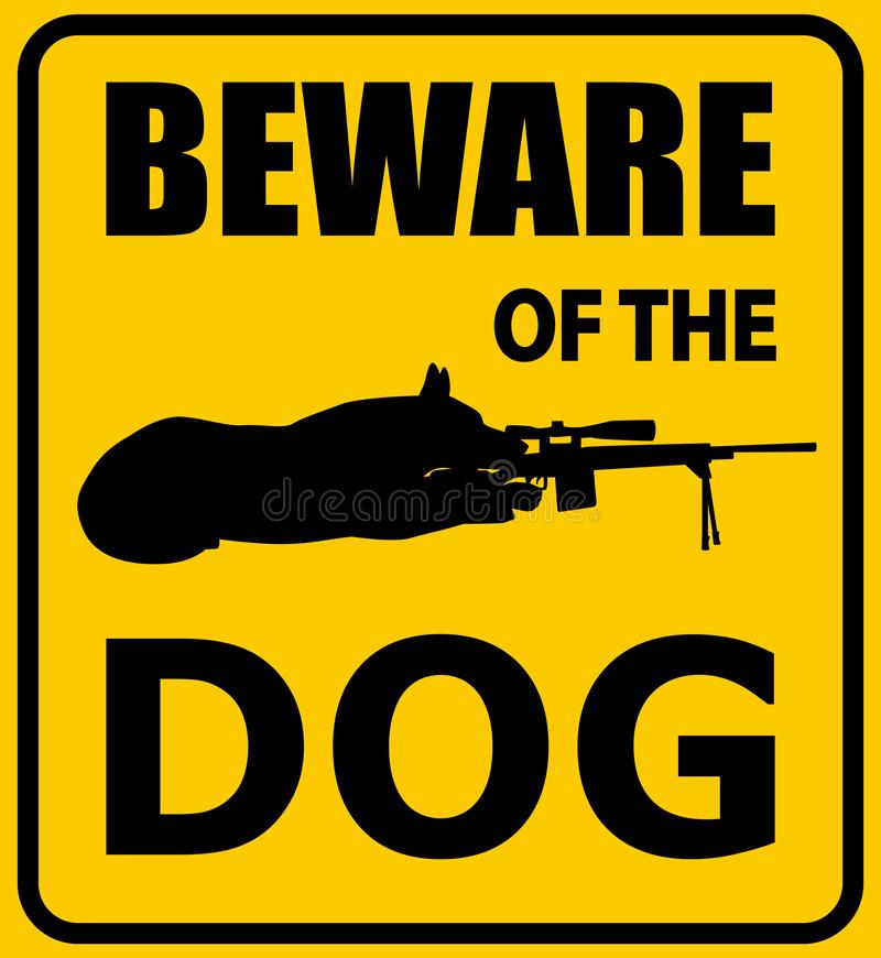 Beware of the dog sign. German shepherd with sniper rifle silhouette, vector illustration vector illustration