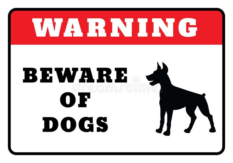 Beware of dogs Sign. Warning Board- Beware of dogs Sign drawing by illustration.Warning Icon vector illustration