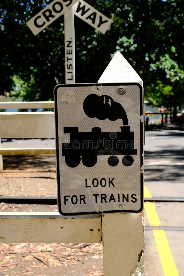 Beware of Puffing Billy - the steam train in Melbourne, Australia. Puffing Billy is a traditional steam train still operating today. It attracts lots of tourist royalty free stock photo