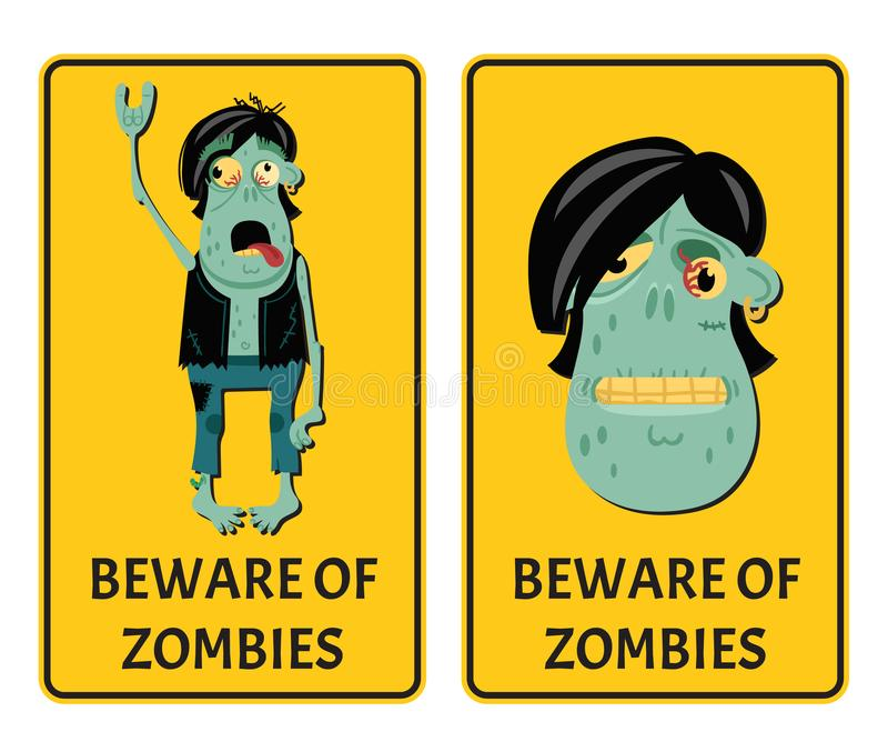 Beware of zombies labels with punk rocker monster vector illustration