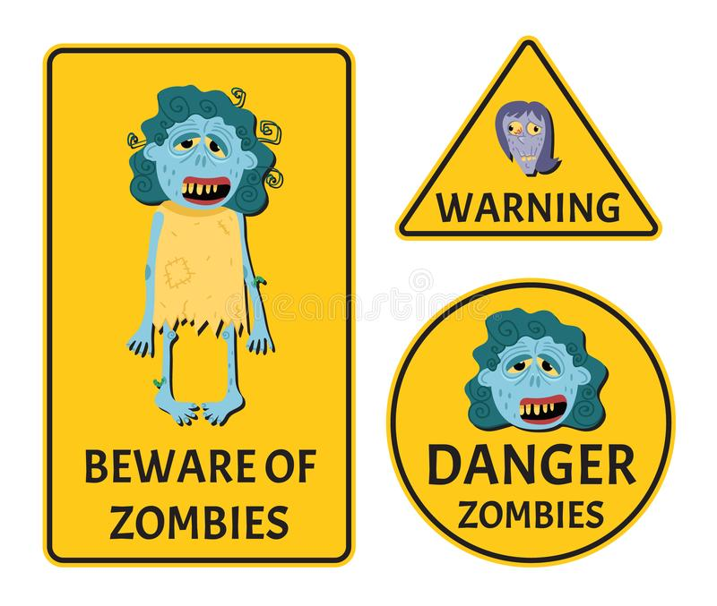 Beware Of Zombies Label Set Stock Vector - Illustration of