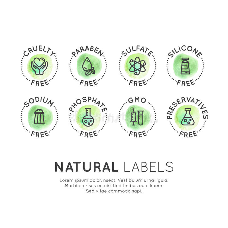 Bewarende Vrije Biologisch productstickers royalty-vrije illustratie
