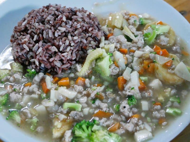 Beweeg Fried Tofu met Varkensvlees Moo Sab Pad Tao Hu op rijst royalty-vrije stock foto