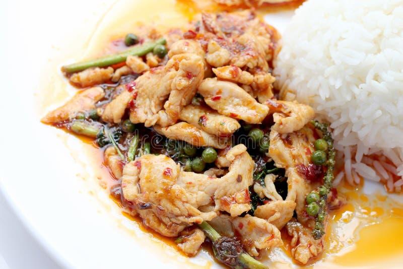 Beweeg gebraden kruidige kip Thais kruidig kruidvoedsel stock fotografie