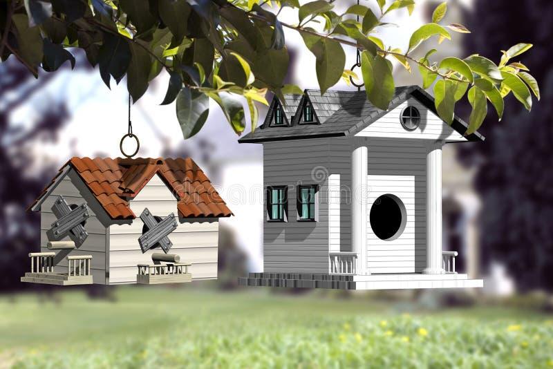 Bewegen auf ein neues besseres Haus stockbild