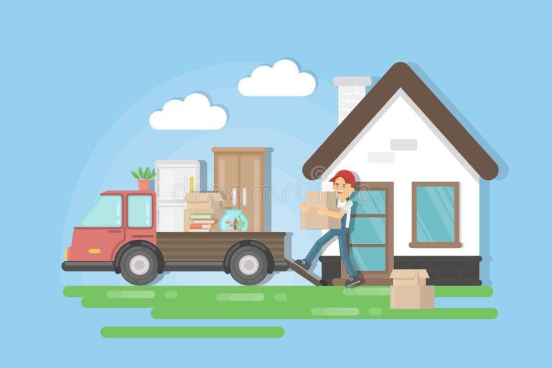 Bewegen auf ein neues Haus lizenzfreie abbildung