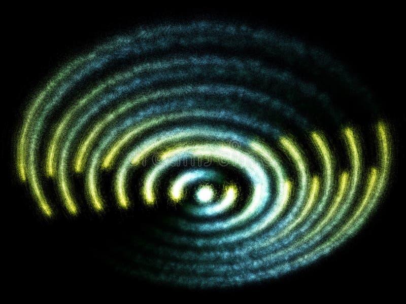 Bewegen de blauwe en gele deeltjes van de fantasie emissie spiraalsgewijs stock illustratie