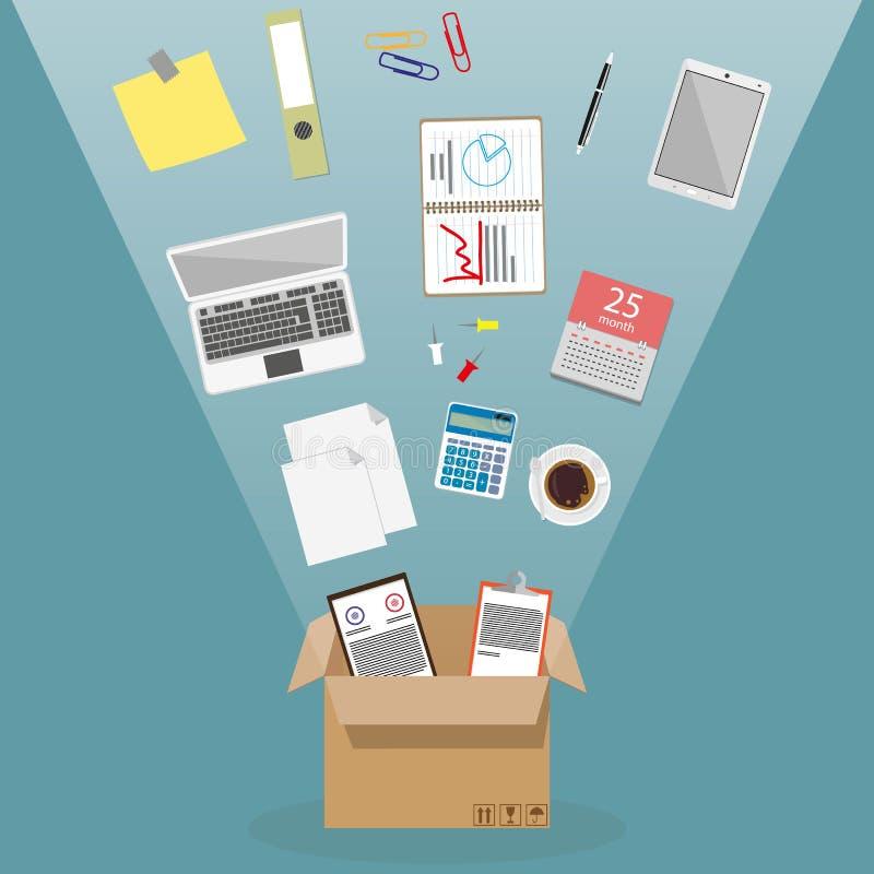 Bewegen in ein neues Büro stock abbildung