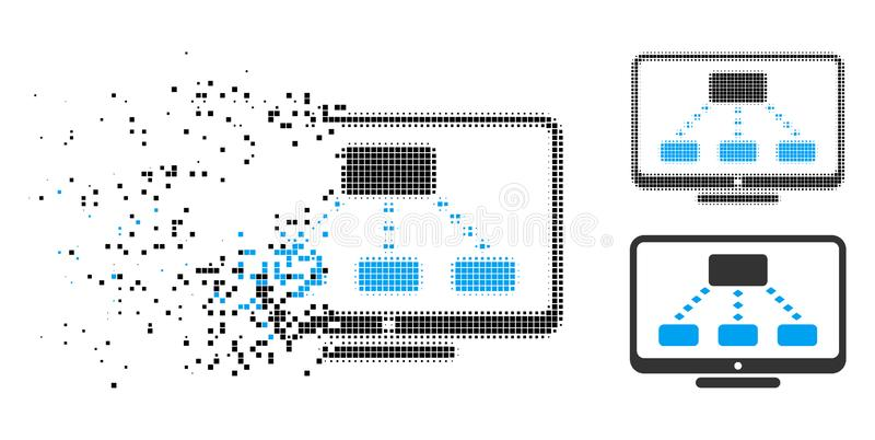 Bewegend Dot Halftone Hierarchy Monitoring Icon stock illustratie