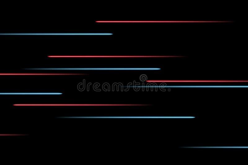 Bewegende abstrakte Neonlinien im Raum Abstrakte blaue und rote Neonlinien im Raum auf dunklem lokalisiertem Hintergrund Vektorli vektor abbildung