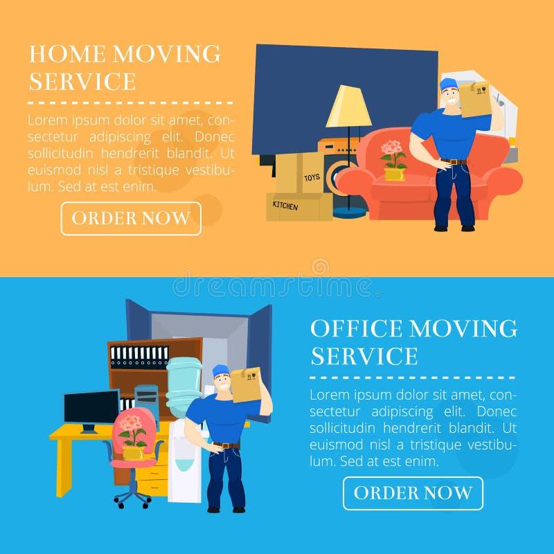 Bewegende de dienstkerel met meubilair en bewegende vrachtwagen vectorillustratie met exemplaarruimte stock afbeeldingen