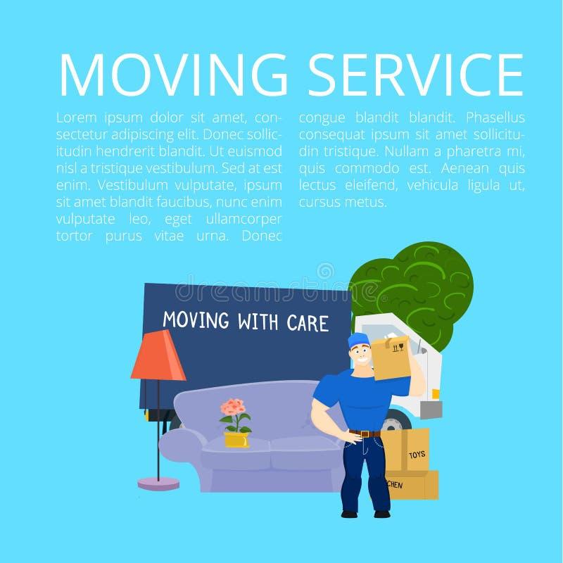 Bewegende de dienstkerel met meubilair en bewegende vrachtwagen vectorillustratie met exemplaarruimte stock foto