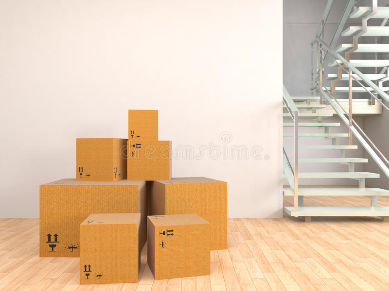 Bewegende dozen bij een nieuw huis 3D Illustratie vector illustratie