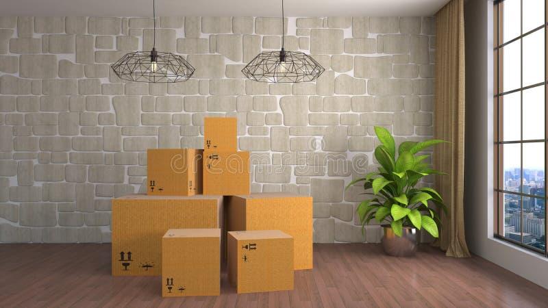 Bewegende dozen bij een nieuw huis 3D Illustratie stock illustratie