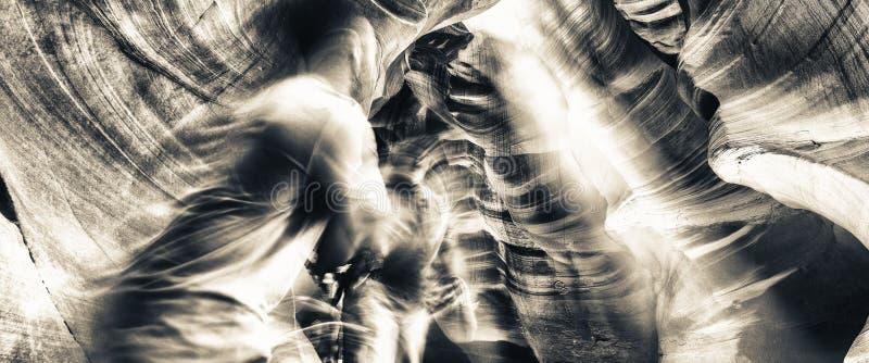 Bewegende fotografen die lichte stralen in Hogere Antel proberen te vangen royalty-vrije stock fotografie