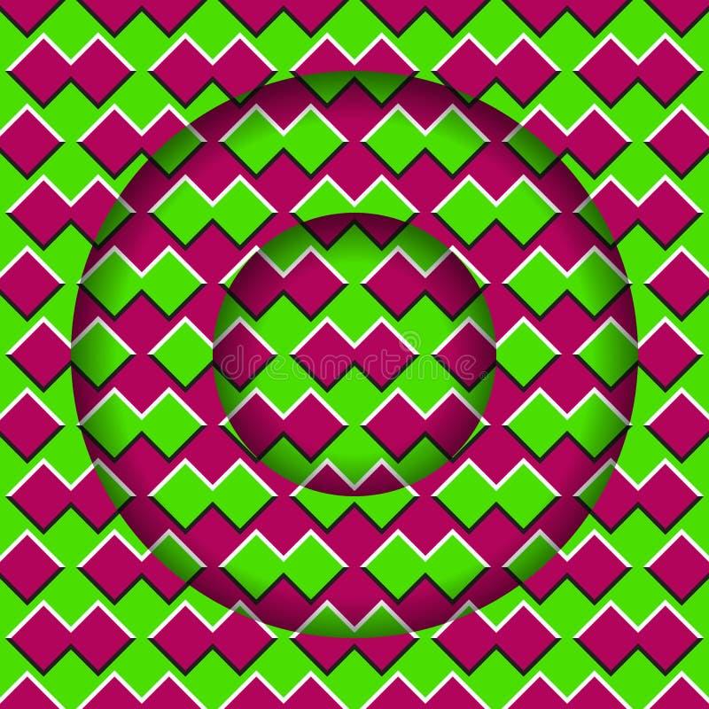 Bewegende lagen met een bont patroon Abstracte optische illusieachtergrond royalty-vrije illustratie
