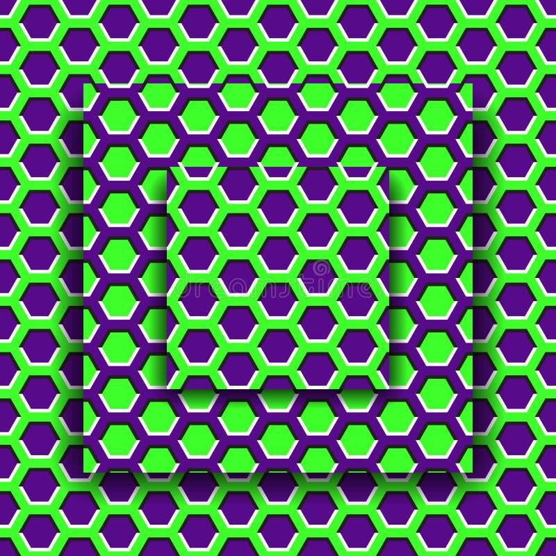 Bewegende platforms met een hexagonaal patroon De Achtergrond van de optische illusie royalty-vrije illustratie