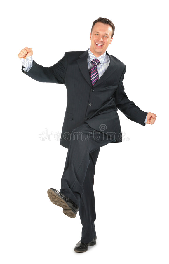 Bewegende zakenman in zwart kostuum stock foto