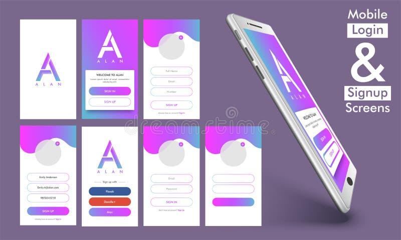 Beweglich unterzeichnen Sie herein und melden Sie UI, UX-Design an stock abbildung