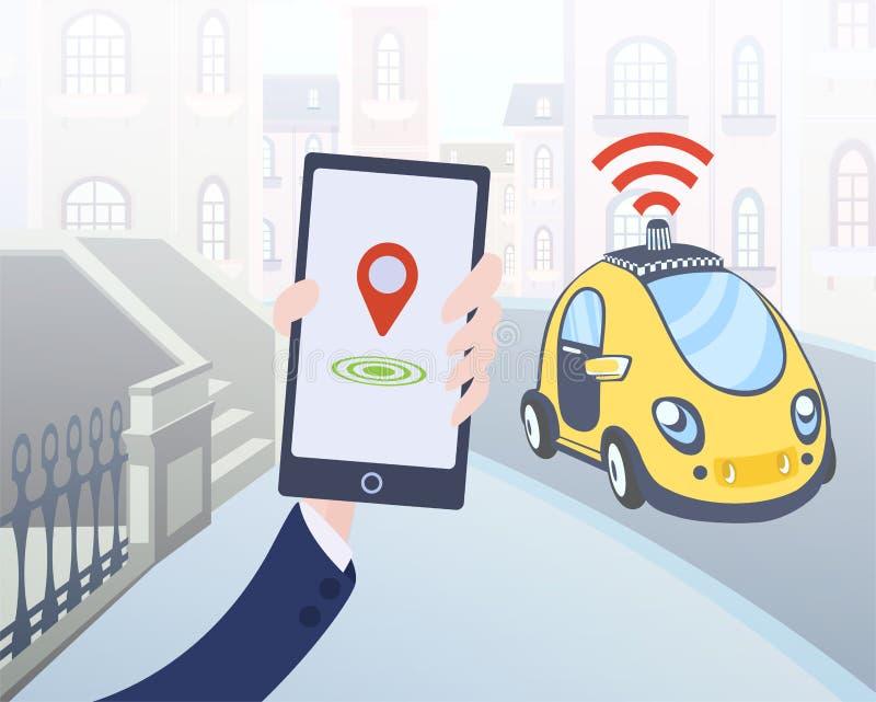 Bewegliche Anwendung für die Einrichtung des driverless Taxis Smartphone und Auto auf Stadtstraßenhintergrund Auch im corel abgeh vektor abbildung