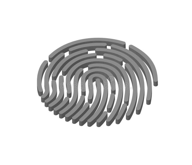 Bewegliche Anwendung für Fingerabdruckanerkennung in 3d vektor abbildung