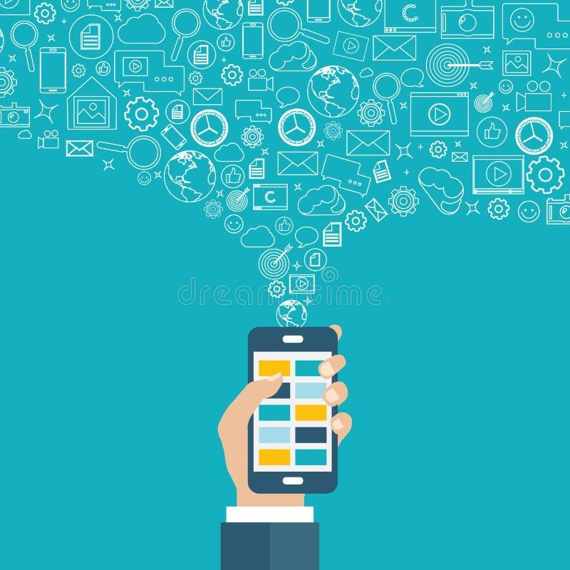 Bewegliche Anwendungen und bewegliches Marketing und Werbekonzeption Hand mit Telefon lizenzfreie abbildung