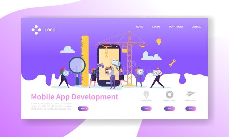 Bewegliche Anwendungsentwicklungs-Landungs-Seite Kodierungs-Technologie mit flacher Leute-Charakter-Website-Schablone stock abbildung