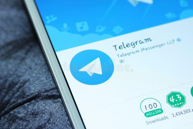 bewegliche APP des Telegrammboten stockfotografie