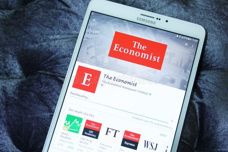 Bewegliche APP The Economists lizenzfreies stockfoto