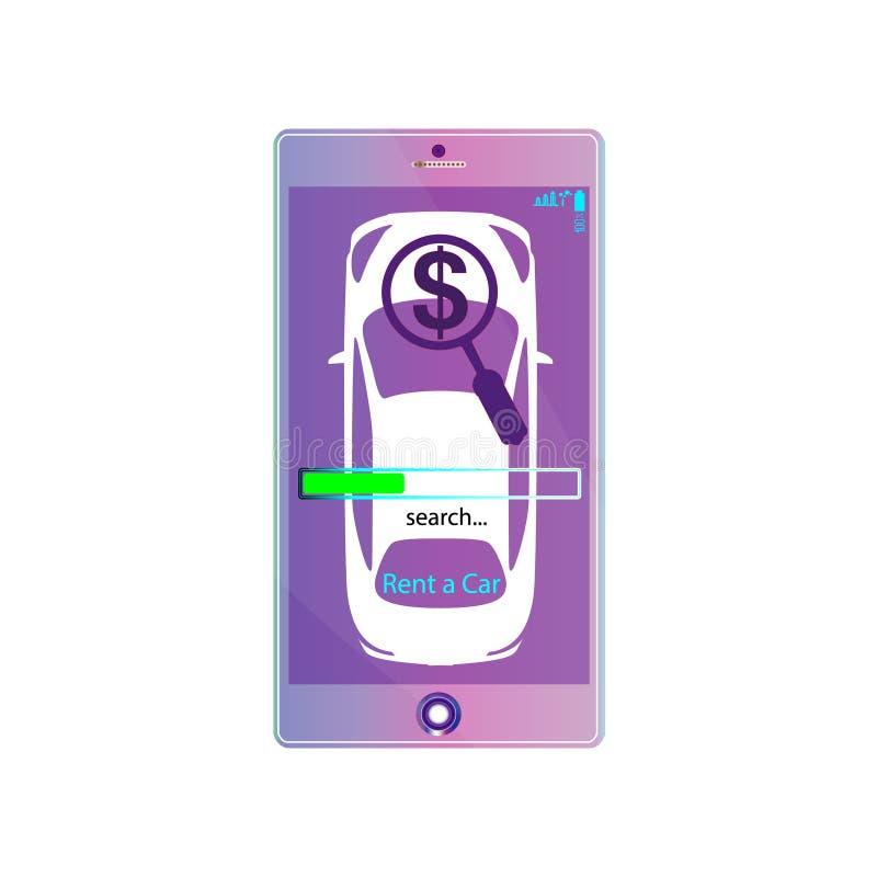 Bewegliche APP-Miete ein Auto Violetter on-line-Mietservice Auto auf Schirm Smartphone, Menüsuche-geolocation Kennzeichen Vektori stock abbildung