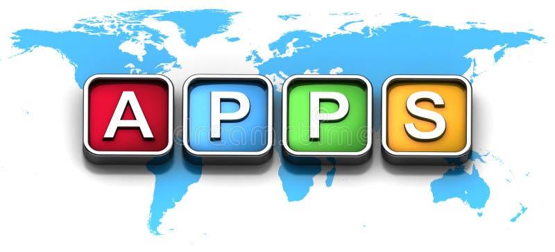 Bewegliche apps Ikonen auf Weltkarte lizenzfreie abbildung