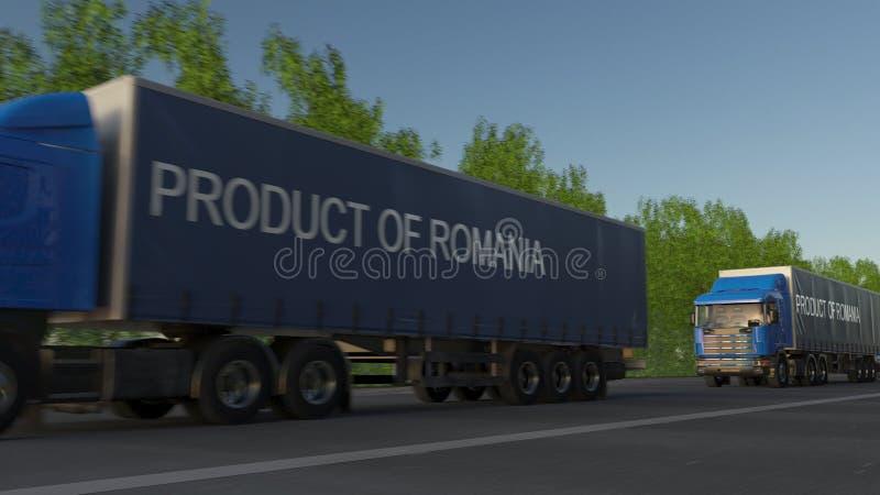 Bewegliche der Fracht LKWs halb mit PRODUKT VON RUMÄNIEN-Titel auf dem Anhänger Straßenfrachttransport Wiedergabe 3d lizenzfreie abbildung