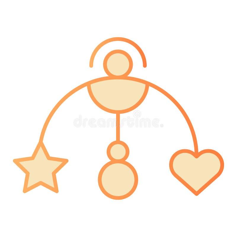 Bewegliche flache Ikone Hängende orange Ikonen des Spielzeugs des Babys in der modischen flachen Art Babykrippenspielzeugsteigung stock abbildung