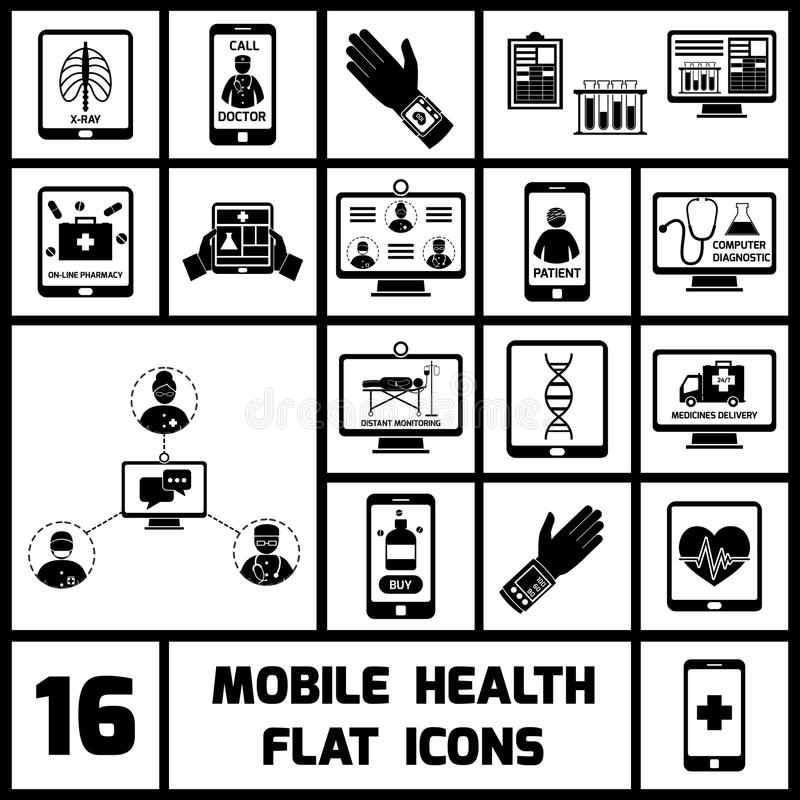 Bewegliche Gesundheits-Ikonen schwarz eingestellt lizenzfreie abbildung